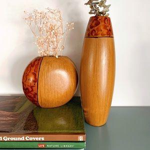 Vintage Pair of Wooden Vases